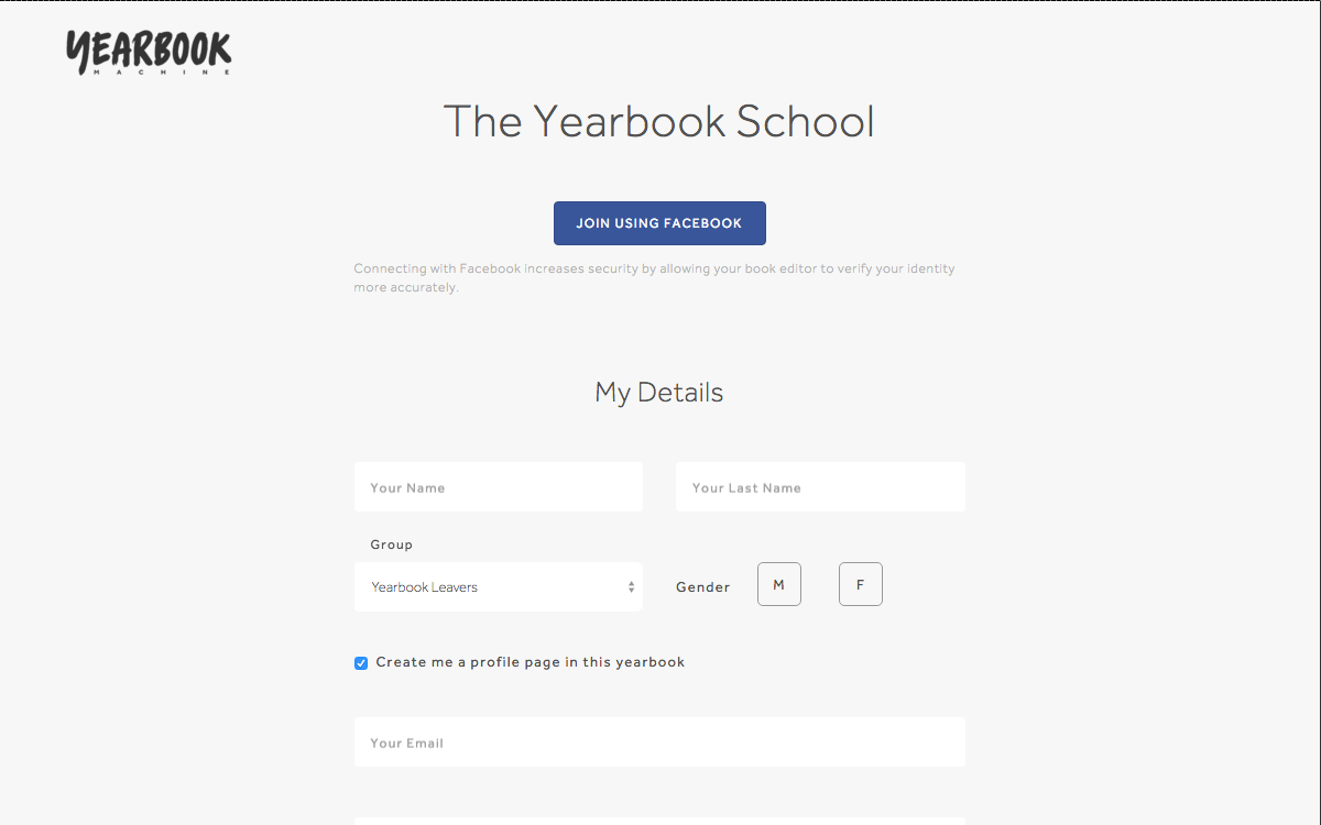 FB Signup Page