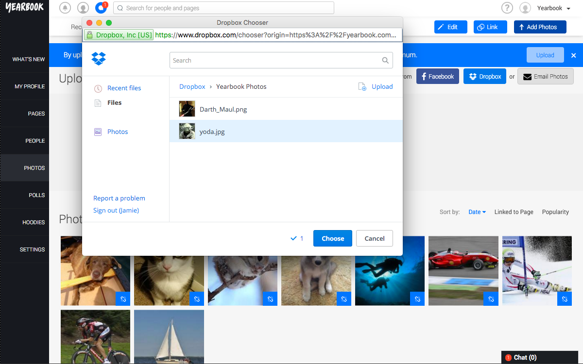 Choose Dropbox Photos