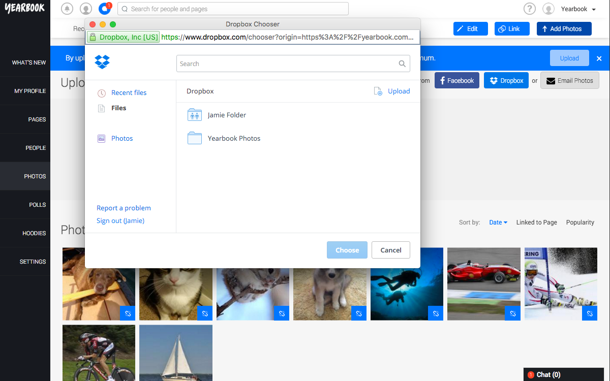 Choose Dropbox Album